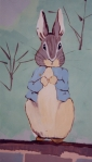Beatrix Potter's Peter on my Potter themed nursery wall.