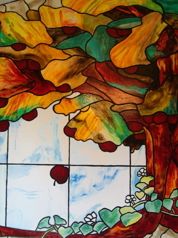 Detail of faux stained glass mural